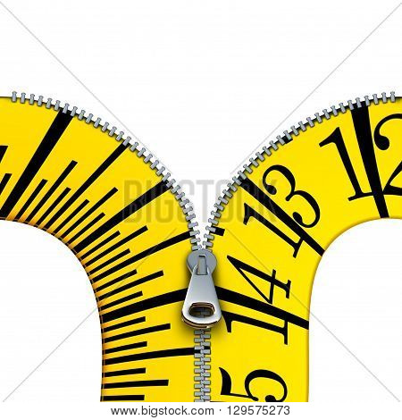 Measuring tape open zipper concept as a tailor or tailoring symbol and diet or dieting measure icon isolated on a white background as a 3D illustration.