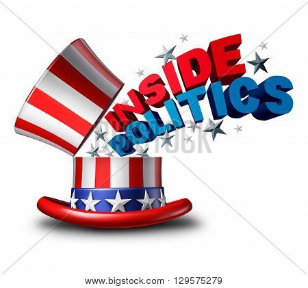 Inside politics American election and United States of America vote symbol as a USA political news insider journalism symbol as a top hat as a 3D illustration icon on a white background.