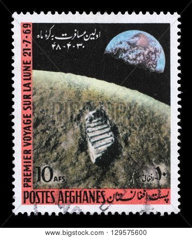 ZAGREB, CROATIA - JULY 03: a stamp printed in the Afghanistan shows First Moon Landing - 1969, circa 1970, on July 03, 2012, Zagreb, Croatia