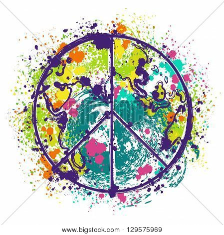 Hippie peace symbol on earth globe background with splashes in watercolor style. Design concept for banner, card, scrap booking, t-shirt, bag, print, poster. Retro hand drawn vector illustration