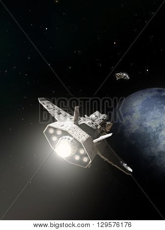 Science fiction illustration of two spaceships about to pass on the approach to an alien planet, 3d digitally rendered illustration (3d rendering, 3d illustration)