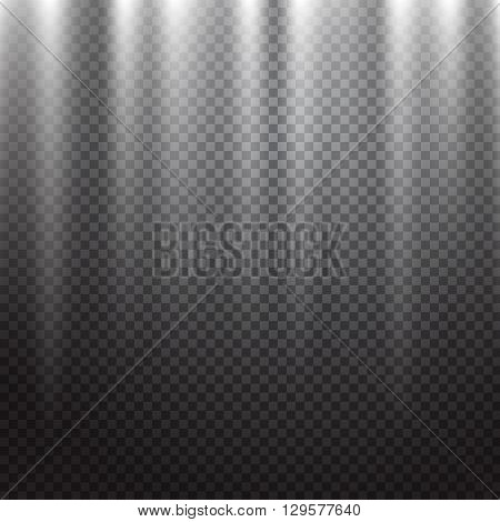Bright rays light effect isolated on transparent background. Scene illumination with projectors light. Vector illustration