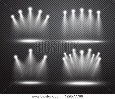 Set of realistic spotlights lighting. Glowing light effects  on transparent background. Special effects with transparency. Bright projectors lighting collection. Vector illustration