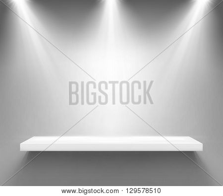 Empty white shelf illuminated by three spotlights. Boutique showcase or interior decoration furniture. Vector background