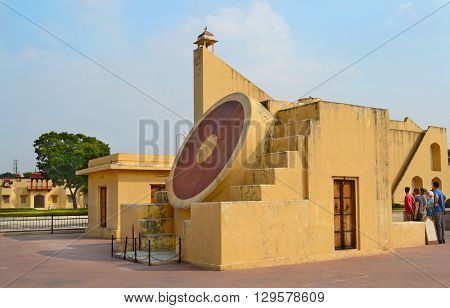 JAIPUR INDIA - NOVEMBER 2 2015: Jantar Mantar Monument. A collection of architectural astronomical instruments including the worlds largest stone sundial.