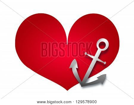 Illustration of big red heart with anchor symbol