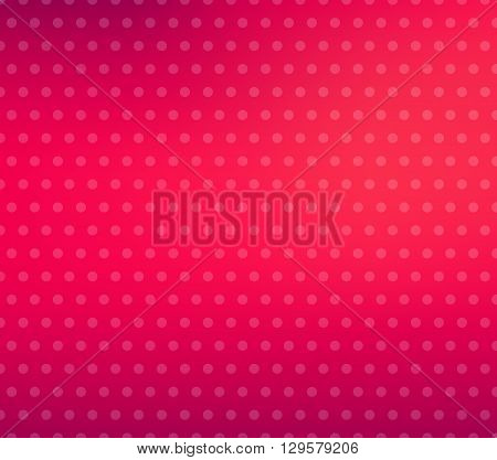 Pink blurred background with polka dots. Pink gradient. Dotted pattern. Shiny abstract background. Smooth pink background. Vector illustration.