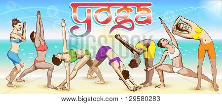A set of yoga postures female figures: the sequence of exercises in the form of creative visual poster for advertising banners posters postcards etc.