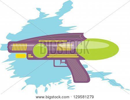 colorful water gun kids toy cartoon illustration