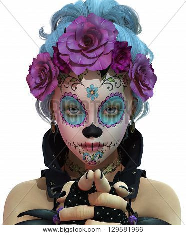 3d computer graphics of a cute girl with sugar skull makeup