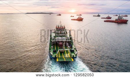 Labuan FT,Malaysia - Feb 14, 2016:Putra Jaya ferry with vehicles on board in the morning,carries passengers and vehicles to Menumbok Sabah.This is the most economical connect Labuan FT and the Borneo.