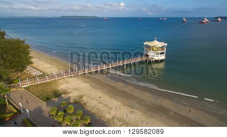 Labuan,Malaysia-January 29,2016:Aerial view of Manja Rasa restaurant, a famous floating restaurant on sea waters near the Labuan International Sea Sports Complex at Labuan,Malaysia.
