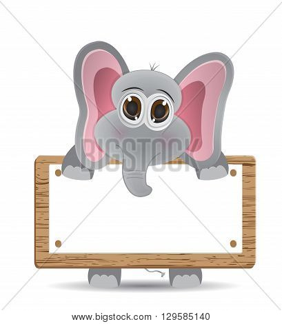 cute vector elephant with blank text box where you can put your text