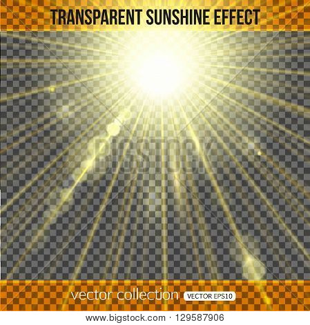 Sunshine effect over transparent background. Sunlight background. Vector illustration with sunshine.
