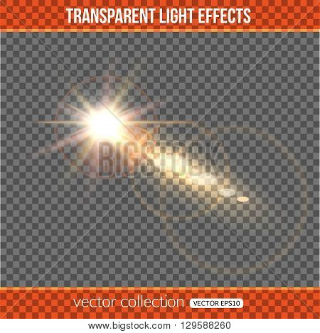 Glowing comet over transparent background. Comet with lights effect. Vector illustration with abstract comet.