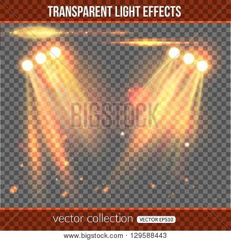 Floodlight over transparent background.  Vector illustration with floodlight.