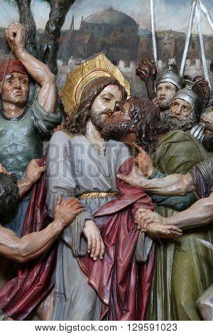 STITAR, CROATIA - AUGUST 27: Judas kiss, Jesus in the Garden of Gethsemane, altarpiece in church of Saint Matthew in Stitar, Croatia on August 27, 2015