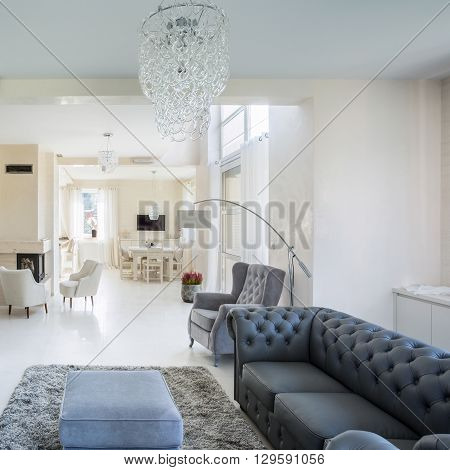 Horizontal view of interior of luxury apartment