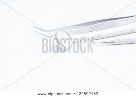 Dental Tools set on white background .