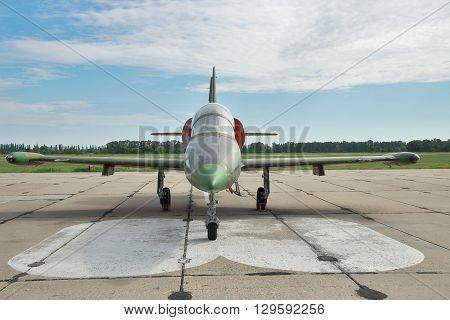 Vasilkov Ukraine - June 19 2010: Aero L-39 Albatros military training plane preparing for a flight - front view