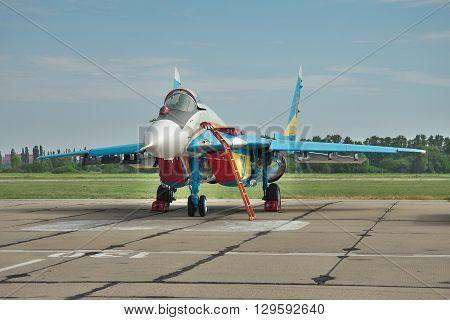 Vasilkov Ukraine - June 19 2010: Ukrainian Air Force MiG-29 fighter plane on the airbase before a training flight