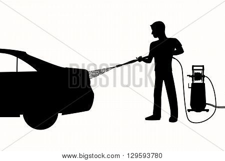 Silhouette of Man washing a car with high pressure washer. Spraying water from the hose. Vector black and white illustration of car wash.