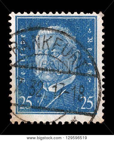 ZAGREB, CROATIA - JUNE 24: A stamp printed in the German Reich shows Paul von Hindenburg (1847-1934), 2nd President of the German Reich, circa 1928, on June 24, 2014, Zagreb, Croatia