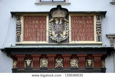 VIENNA, AUSTRIA - DECEMBER 09: Coat of arms of the Habsburg monarchy at the Hofburg in Vienna, Austria, on December 09, 2011.