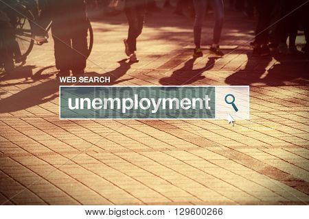 Unemployment web search bar glossary term on internet