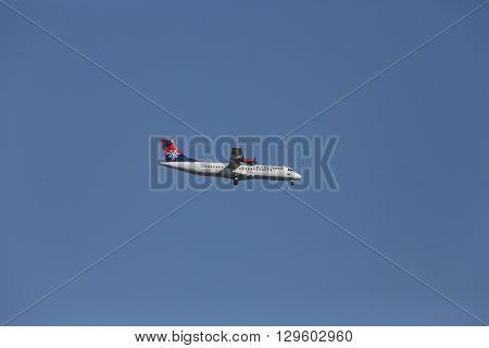 ZAGREB, CROATIA - JUNE 10: ATR 72, registration XB-IXP of Air Serbia landing on Zagreb Airport Pleso on June 10, 2015.