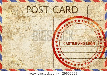 Castile and leon, vintage postcard with a rough rubber stamp