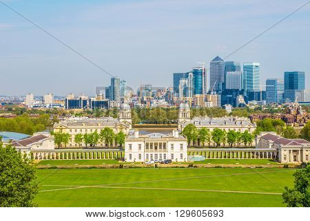 Cityscape view from Greenwich hill of London England UK
