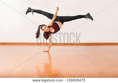 Dancer Doing A Handstand With Leg Split