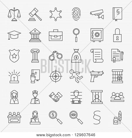 Law And Justice Line Art Design Icons Big Set