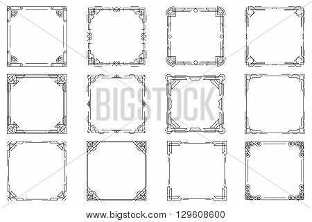 Thin line geometric frames, vector linear frames. Frame square linear, design frame element square, decoration frame square illustration