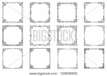 Thin line geometric frames, vector linear frames. Frame square linear, design frame element square, decoration frame square illustration