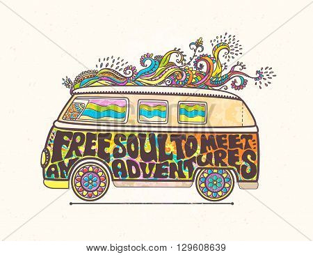 Hippie style. Ornamental retro background Love and Music with hand-written fonts hand-drawn doodle background and textures Hippy color vector illustration.