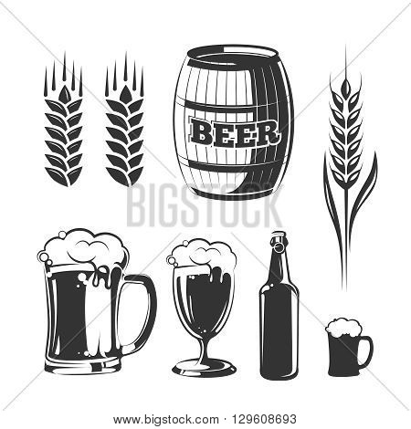 Vector elements for vintage beer festival labels and emblems. Alcohol beer label, emblem beer, sign beer, vintage lager beer, badge beer illustration