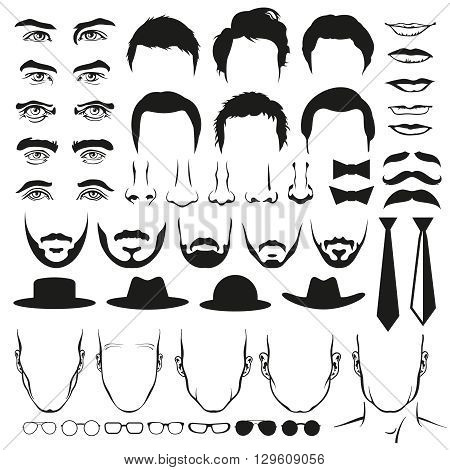 Men face parts. Eyes and nose, mustaches and glasses, hats and lips and hairstyle, ties and beards. Man hair, man head, fashion man portrait, man eyebrow, man beard, man hairstyle illustration vector set