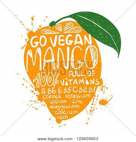 Hand drawn illustration of isolated colorful mango fruit silhouette on a white background. Typography poster with lettering inside the mango.