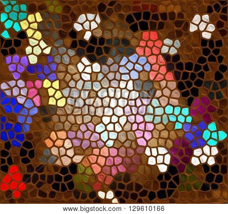 Mosaic of colored stones  The painting shows a beautiful mosaic of bright multicolored stones.