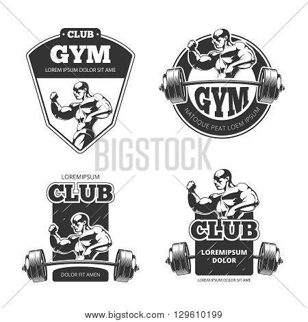 Gym and fitness vector emblems, labels, badges, logos. Sport label, logo fitness gym, badge gym fitness, bodybuilding gym logo, fitness club illustration