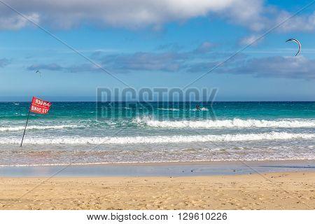 Kitesurfer On Sotavento Beach - Fuerteventura Canary Islands Spain
