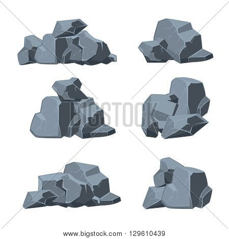 Cartoon stones vector set. Stone rock, boulder stone, nature stone element illustration