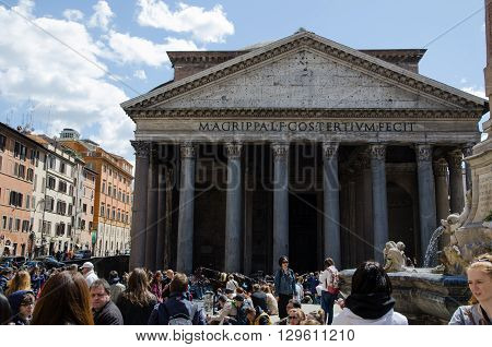 ROME, ITALY - APRIL 25:  Tourists at the famous Pantheon by Piazza della Rotonda in Rome Italy April 25, 2016