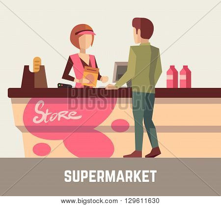 Supermarket store assistant, cashier woman at cash register and customer. Store cashier, sale assistant store, supermarket store, retail store, service store. Vector illustration
