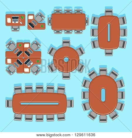 Office and conference business vector furniture icons in flat style. Interior furniture office, furniture room conference, furniture indoor meeting illustration