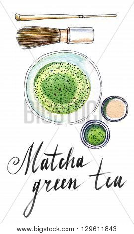 Powdered japanese green tea with bamboo spoon whisk for whipping top view hand drawn - watercolor Illustration