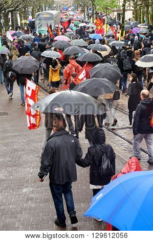 STRASBOURG FRANCE - MAY 12 2016: Elevated view of protesters as thousand of people demonstrate as part of nationwide day of protest against labor reforms by France Government