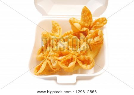 Deep Fried Crab Rangoon Appetizers Served in a Takeout Container